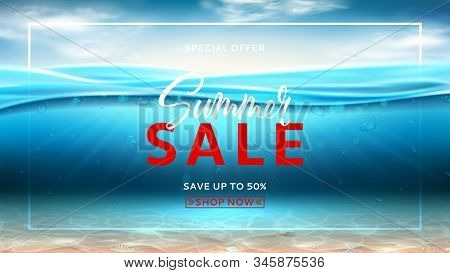 Summer Sale Promo Banner. Realistic Sea Landscape With Waves. Vector Illustration. Marine Scene With