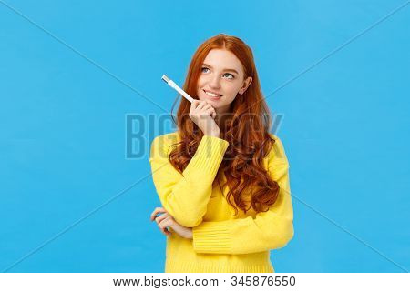 Creative And Inspired Cute Excited Redhead Woman, Journalist Or Writer Creating New Ideas, Looking U