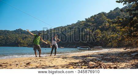 Enjoying The Beach Of Puerto Caribe In Punta De Sal In The Caribbean Sea, Tela. Honduras