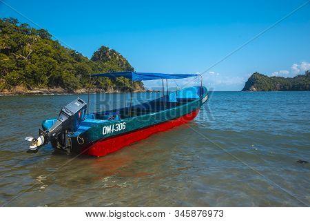 Tela, Honduras »; January 2020: A Transport Boat On The Beach Of Puerto Caribe In Punta De Sal In Th