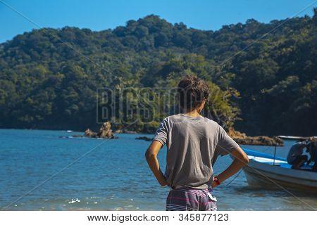 Tela, Honduras »; January 2020: A Child On The Beach Of Puerto Caribe In Punta De Sal In The Caribbe