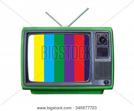 Green Classic Vintage Retro Style Old Television With Cut Screen,old Tv With Test Screen And Tv Ante