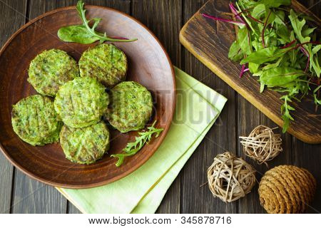 Healthy Fried Vegetable Cutlets With Cabbage And Pea. Vegetarian Rissole, Flat Lay
