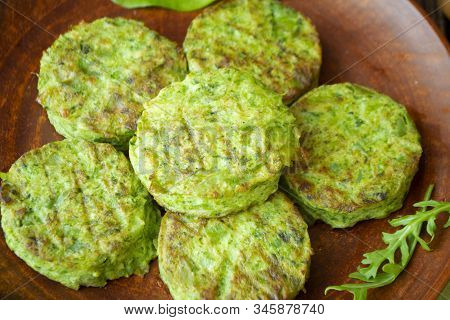 Healthy Food, Fried Vegetable Cutlets With Cabbage. Vegetarian Green Rissole, Close Up
