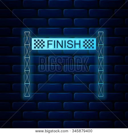 Glowing Neon Ribbon In Finishing Line Icon Isolated On Brick Wall Background. Symbol Of Finish Line.