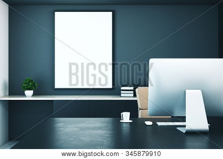 Modern Office Room Interior With Computer And Blank Banner On Wall. 3d Rendering