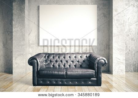Luxuri Black Leather Sofa And Blank Poster In Concrete Room. Mock Up, 3d Rendering