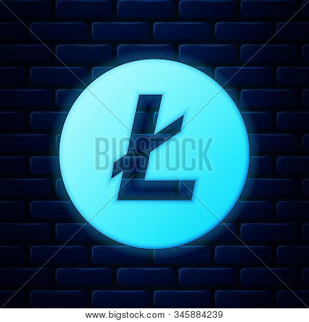 Glowing Neon Cryptocurrency Coin Litecoin Ltc Icon Isolated On Brick Wall Background. Physical Bit C