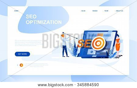 Seo Optimization Vector Landing Page Template With Header. Internet Promotion Strategy Web Banner, H