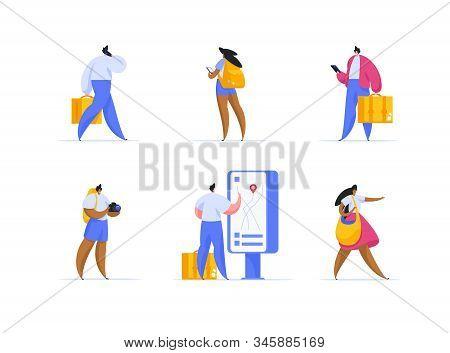 Tourism, Business And Leisure Trip, Excursion Flat Vector Illustrations Set