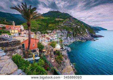 Vernazza Village Panorama View From The Tower Of Doria Castle. Amazing Colorful Mediterranean Houses