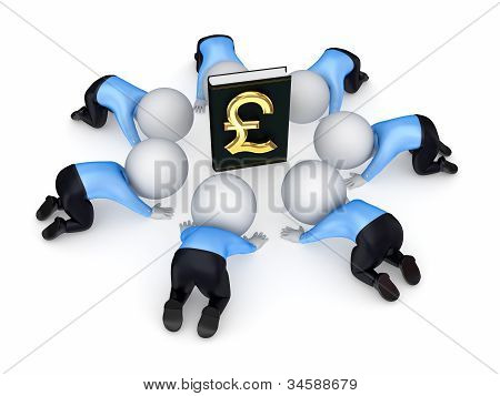 3d people around book with pound sterling symbol.