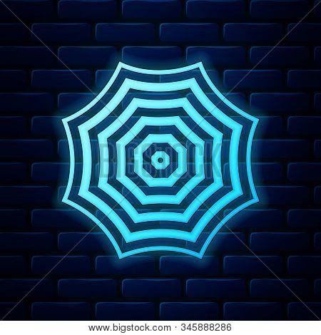 Glowing Neon Sun Protective Umbrella Fo Beach Icon Isolated On Brick Wall Background. Large Parasol