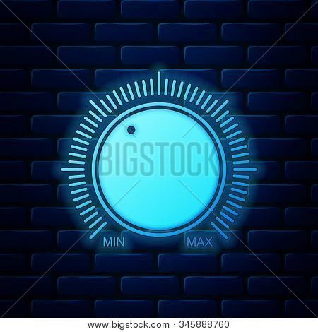 Glowing Neon Dial Knob Level Technology Settings Icon Isolated On Brick Wall Background. Volume Butt
