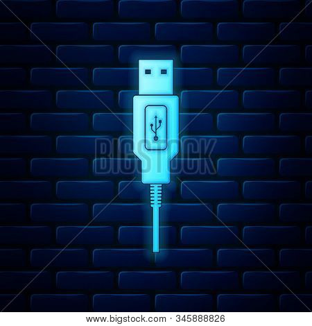 Glowing Neon Usb Cable Cord Icon Isolated On Brick Wall Background. Connectors And Sockets For Pc An