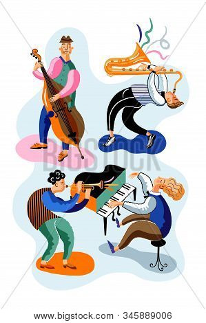 Jazz Musicians Flat Vector Characters Set. Band, Orchestra Performance, Concert. Double Bass, Piano