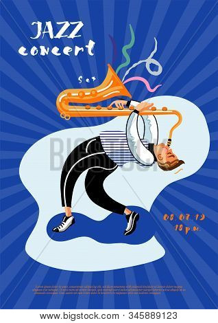 Jazz Concert Leaflet Template. Saxophone Player Cartoon Character. Professional Musician Improvisati