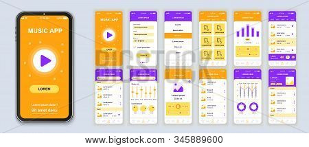 Music Mobile App Interface Design Vector Templates Set. Audio Player. Online Playlist. Smartphone We