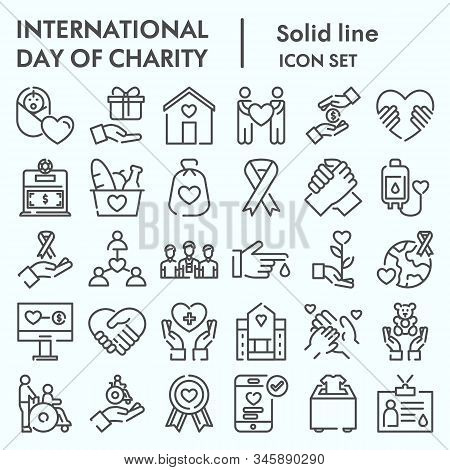 Day Of Charity Line Icon Set, Charity Set Symbols Collection, Vector Sketches, Logo Illustrations, C