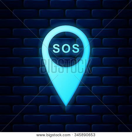 Glowing Neon Marker Location With Sos Icon Isolated On Brick Wall Background. Sos Call Location Mark