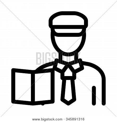 Custom Policeman Icon Vector. Outline Custom Policeman Sign. Isolated Contour Symbol Illustration