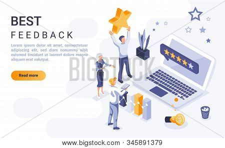 Best Feedback Landing Page Vector Template With Isometric Illustration. Customer Satisfaction Rating