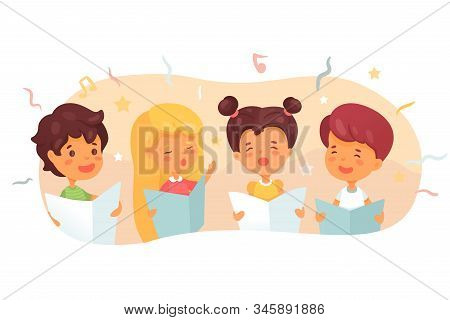 Children Choir Flat Vector Illustration. Cute Kids Singing In Quartet, Four-piece Band. Music Lesson