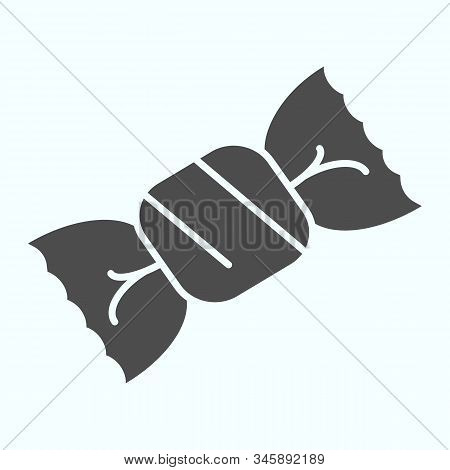 Candy Solid Icon. Chocolate Candy Vector Illustration Isolated On White. One Candy In A Wrapper Glyp