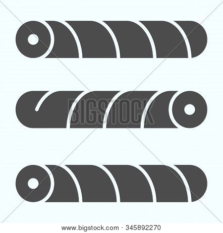 Wafer Straws Solid Icon. Tubule Candy Vector Illustration Isolated On White. Wafer Tubule Glyph Styl