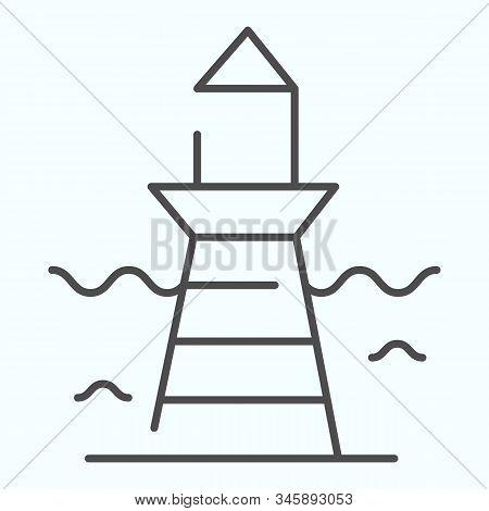 Lighthouse And Wave Thin Line Icon. Marine Beacon Illustration Isolated On White. Navigation Pharos