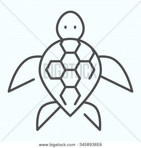Turtle Thin Line Icon. Ocean Or Sea Kareta Tortoise Illustration Isolated On White. Marine Turtle-sh