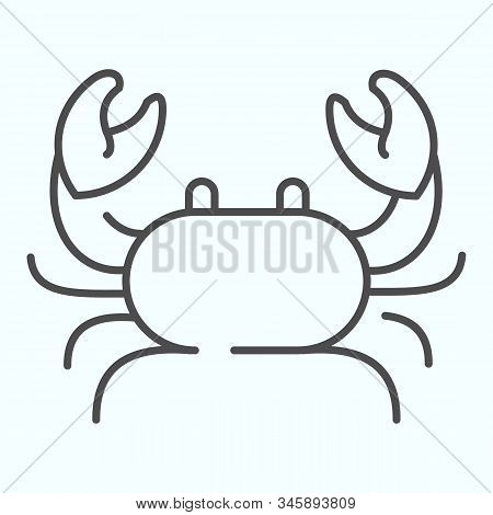 Crab Thin Line Icon. Seafood Crab Shop Logo Illustration Isolated On White. Sea Crustacean With A Br