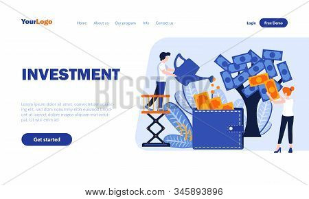Investment Flat Landing Page Template With Header. Profitable Contribution Web Banner, Homepage Desi
