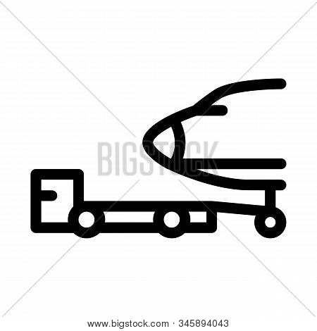 Plane Tow Truck Icon Vector. Outline Plane Tow Truck Sign. Isolated Contour Symbol Illustration