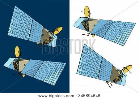 Vector Illustration On The Theme Of Artificial Satellites And The Space Industry. Artificial Satelli