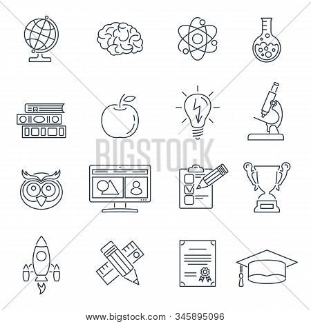 Online Education Thin Lines Web Icon Set For Flyer, Poster, Web Site Like Mortarboard, Books, Brain