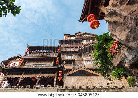 Chongqing, China - June 14, 2018 : Hongya Cave Touristic Area Low Angle View In Yuzhong District In