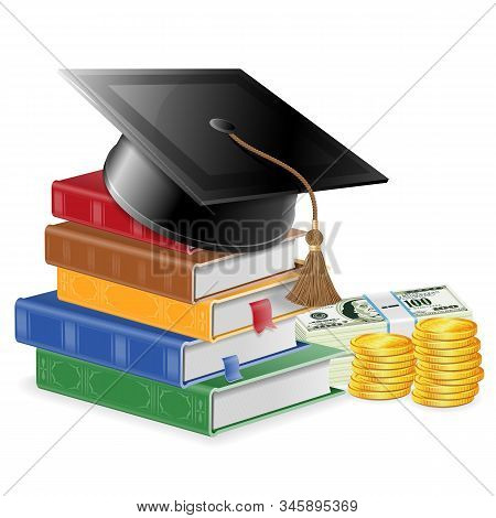 Investment In Education Or Knowledge Is Money Concept - Stack Of Colored Books With Bookmarks And Sq