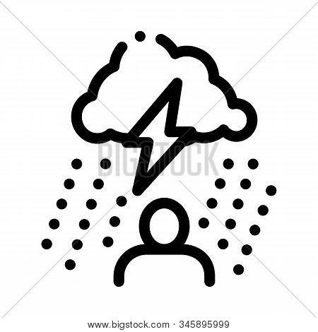 Rainy Cloud Man Icon Vector. Outline Rainy Cloud Man Sign. Isolated Contour Symbol Illustration