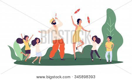 Street Performers. Children And Circus Performers. Happy Girls Boys, Sword-swallower And Juggler Cha