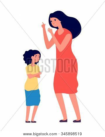 Child Abuse. Parent Abusing Kid, Mother Shouts To Unhappy Daughter. Woman Scolds Sad Girl, Family Pr