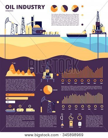 Oil Industry. Gas Infographics, Flat Technology Production Petrol. Ship Fuel Tanks, Cargo Platforms