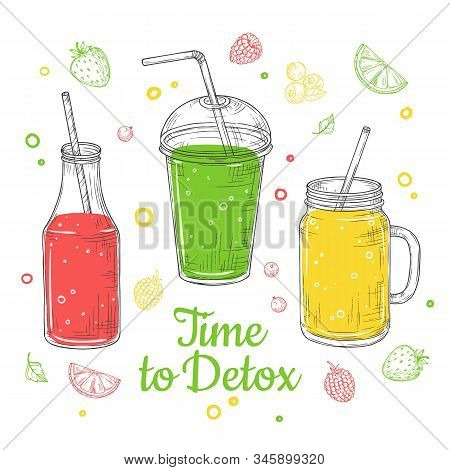 Smoothie Background. Summer Drink, Doodle Healthy Juices. Fresh Fruit Diet. Isolated Detox Breakfast