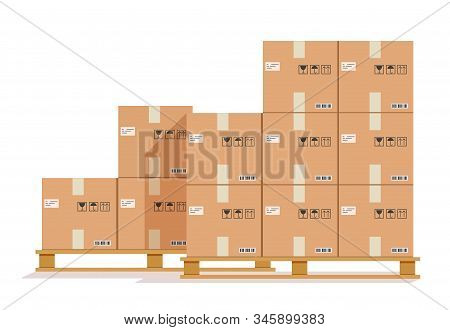 Flat Boxes Pallet. Cardboard Box, Cargo Wood Pallets And Parcels. Warehouse Stack Cartons For Delive