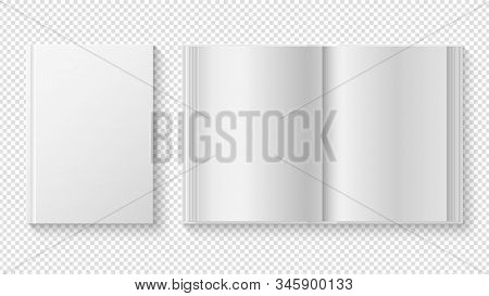 Closed And Opened Book. White Cover Template, Library Reading. Realistic White Paper Sheets Diary Or