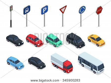 Isometric Cars. Road Signs, 3d Vehicles Isolated On White Background. Autos, Truck And Bus Vector Se