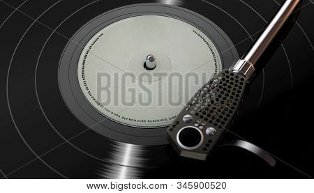 A Vintage Unbranded Turntable Playing A Generic Vinyl Record On A Moody Backlit Dark Background - 3d