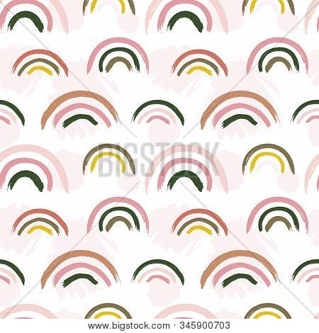 Scandinavian Pattern. Creative Baby Rainbow Print. Nursery Kids Fabric Seamless Texture. Vector Chil