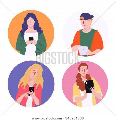Generation Z. Guy And Girl With Device. Character Illustration Isolated On Round Frame. People Vecto