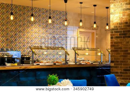 Vintage Blue Yellow Cafeteria, Canteen, Cafe, Food Court At Shopping Mall Or Corporate. Beautiful Un
